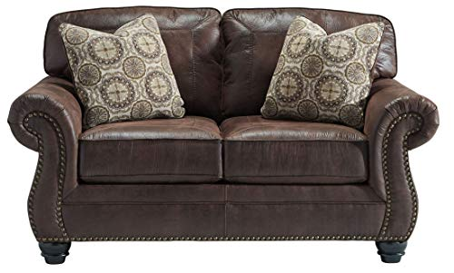 Benchcraft - Breville Traditional Faux Leather Loveseat - Espresso