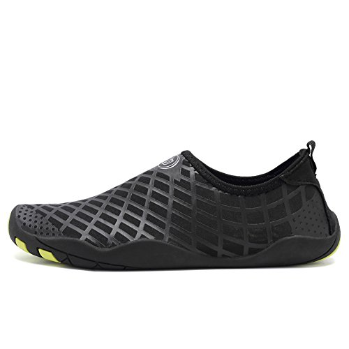 CIOR Men Women Kid's Barefoot Quick-Dry Water Sports Aqua Shoes with 14 Drainage Holes for Swim, Walking, Yoga, Lake, Beach, Garden, Park, Driving,SYY04,lg.black,45 4