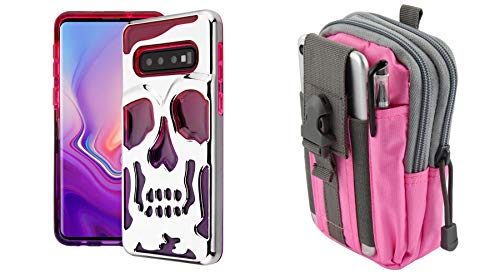 Bemz Lucid Skull Double Layer Protector Case (Pink/Purple/Silver) Compatible with Samsung Galaxy S10+ Plus with Tactical Pouch (Pink/Gray) and Atom Cloth from Bemz Depot