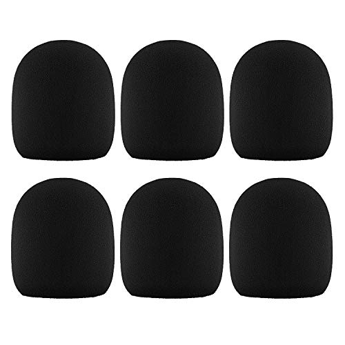 Black Foam Windscreen - Moukey Microphone Mic Covers Foam Handheld Mic Windscreen, Pack of 6, Black