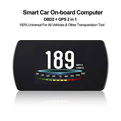 VJOYCAR 4.3 Universal GPS Speedometer Car HUD Head Up Display with Vehicle Speed MPH Odometer Engine RPM Coolant Automotive Computer OBD2 Scan Tool Faulty Code Reader