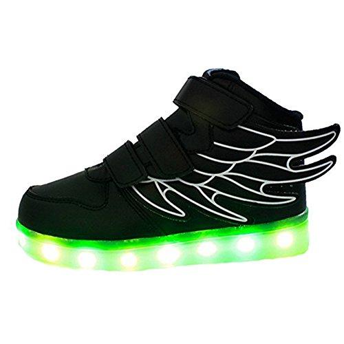 Dogeek Led Schoenen, Led Light Up Schoenen Voor Waggel, Jongens, Meisjes En Kinderen Met 7 Kleuren Licht (kies Een Maat Groter) Zwart