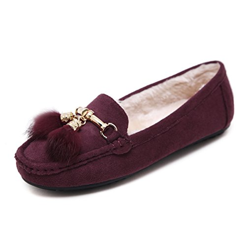 BELLOO Ladies Wool Lined Moccasin Slippers Outdoor Flat Loafer Shoes Purple
