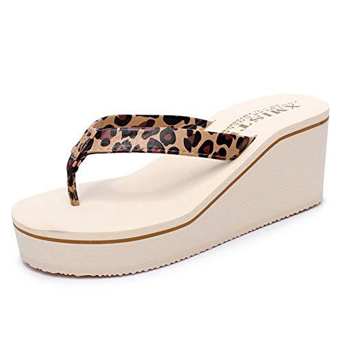 F-OXMY Womens Summer Light-Weight Wedge Platform Flip Flops Beach Non-Slip Thick Bottom Thong Sandals Leopard - Sandal Print Leopard Thong
