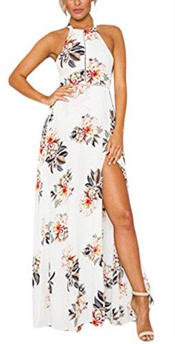 Cfanny - Vestido - Noche - Floral - Sin mangas - para mujer blanco