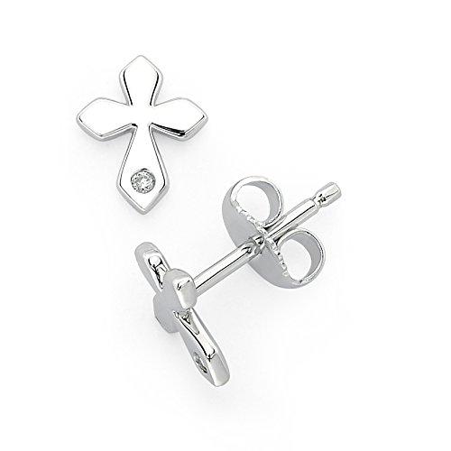 Little Diva Diamonds 925 Sterling Silver Diamond Accent Cross Stud Earrings for Girls