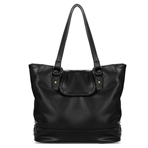 - YOLANDO Handbags For Women Large Vegan Leather Top Flap Tote Bag Black