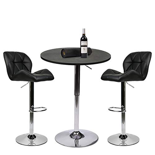 Bonded Leather Furniture Durability - PULUOMIS 35 Inches Height Pub Table Round Black MDF Top, with 2 Black Contemporary Chrome Air Lift Barstool Leather Padded Adjustable Swivel Stools