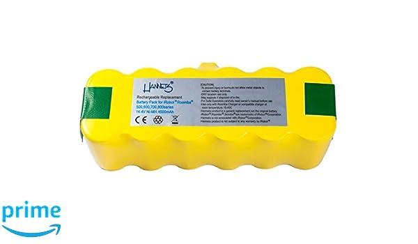 Batería Hannets® Compatible con iRobot Roomba 555 I Batería i-Robot Batería Roomba Batería Aspiradora robotizada I Roomba 555 Accesorios 4500mAh Batería ...