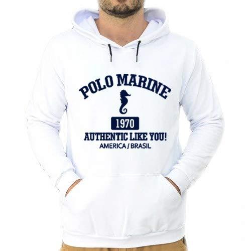 Blusa Moletom Polo Marine Masculina Coleção de Inverno (Branco, G)