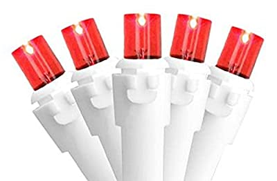 Set of 50 Red LED Wide Angle Christmas Lights - White Wire