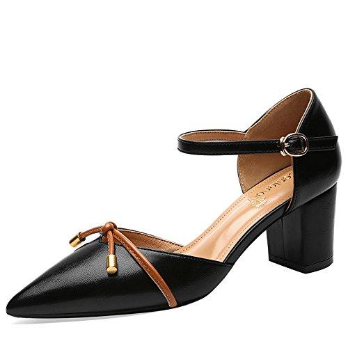 Womens Büro Lederschuhe Low Kleid Spitzschuh Ferse Mid Abendkleid Sandalen Schuhe Knöchelriemen Schnalle Block rgOprqwa