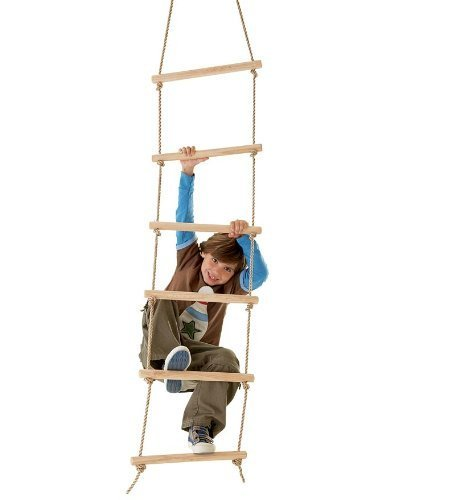 (Sturdy Indoor/Outdoor Rope Ladder, Maple-wood Natural Wood 6'L )