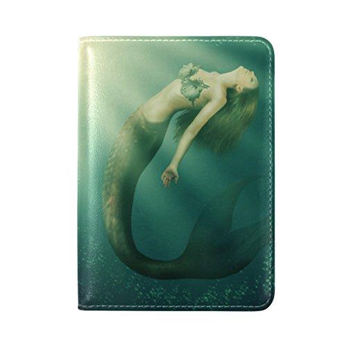 Coosun Fantasy schöne Frau Meerjungfrau mit Schwanz Leder Passhülle Cover für Reisen eine Tasche