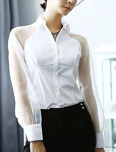 ZH Camisa de mujer rejilla Camisa de manga larga cuello white-xl: Amazon.es: Deportes y aire libre