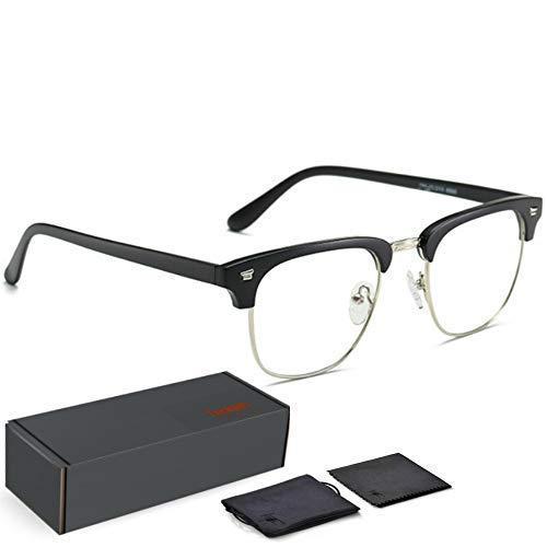 Teddith Blue Light Blocking Glasses Anti Blue Light Computer Reading Glasses Reduce Eye Strain Headache Better Sleep for Men/Women Half Frame Clear Lens