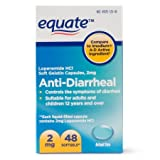 Equate Anti Diarrheal, Loperamide 2 mg, 48 Softgels