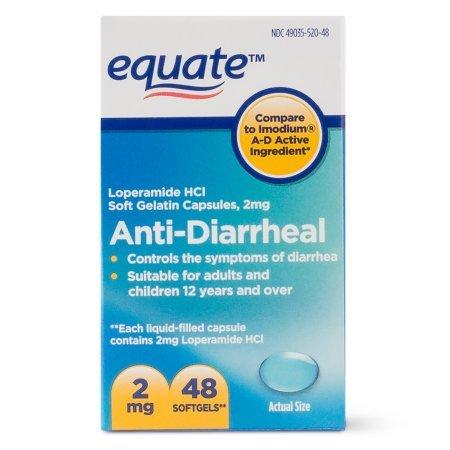 Equate Anti Diarrheal, Loperamide 2 mg, 48 Softgels by Equate