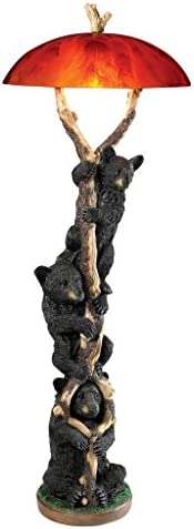 Design Toscano Setting Sun Black Bear Sculptural Floor Lamp
