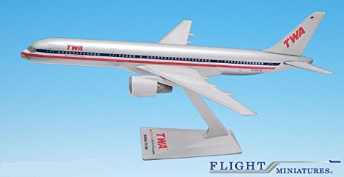 TWA/AA Trans (01-02) 757-200 Airplane Miniature Model Plastic Snap Fit 1:200 Part# ABO-75720H-050
