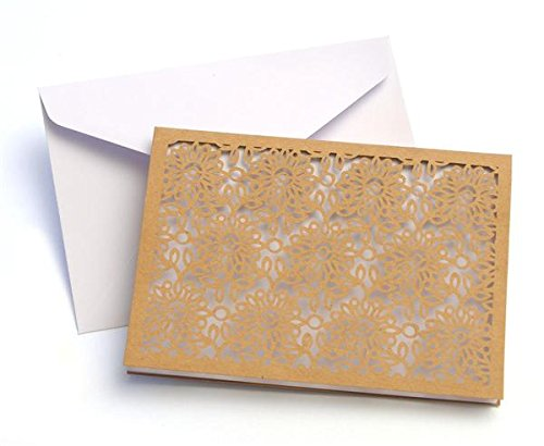 [Note Card Laser Cut Kraft Floral - Quantity 10 - Intricately Designed Thank You Cards] (Laser Cut Note Cards)