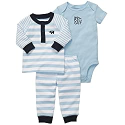 Carter's Baby Boys' 3 Pc Set - Grey Striped Speedster - Newborn