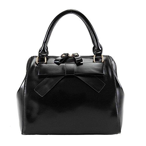 New QCKJ-Lorenz-Borsa a spalla borsetta con fiocco da donna, in ecopelle, colore: nero