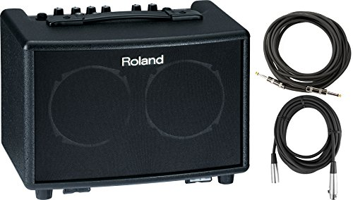 Roland AC 33 BK Battery Powered Acoustic Chorus Amp w/ Instrument Cable and XLR Cable by Roland