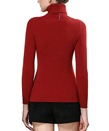 Pull Hiver Roul Tricot Longues Femme Slim Automne Manches Col Col Haut Mode Pull Fit TqafFH