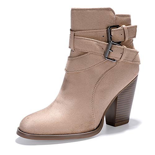 (IDIFU Women's Daisy-N Buckled Cross Strap Round Toe Ankle Booties Stacked High Chunky Heel Pull on Short Boots (Apricot Suede, 11 M US))