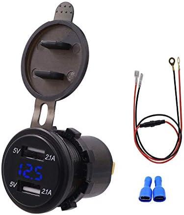 Semoic 防水デュアルUSB充電器ソケット電源コンセント2.1Aおよび2.1A デジタル電圧計 ブルーLEDライト付き IPhone車ボートオートバイマリンモバイル用