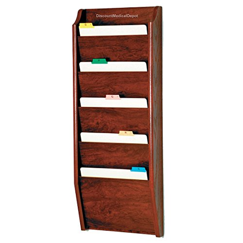 DMD File Rack, Wall Mount Chart Holder, 5 Pocket Wooden Letter Size, Mahogany