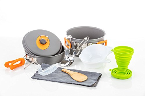 Camping Cookware Survival Mess Kit - 13 Piece Cookware Set by Outdoor Anywhere - Backpacking Hiking Outdoors Cooking Equipment Gear - Compact Hard Anodized Aluminum Pot Pan Bowl With Silicone Handles