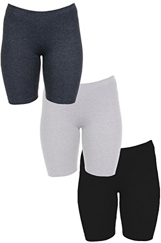 In Touch Womens Combed Cotton Basics 7 Inch Bike Short by (Large, 3 Pack Black/Grey/Charcoal) ()