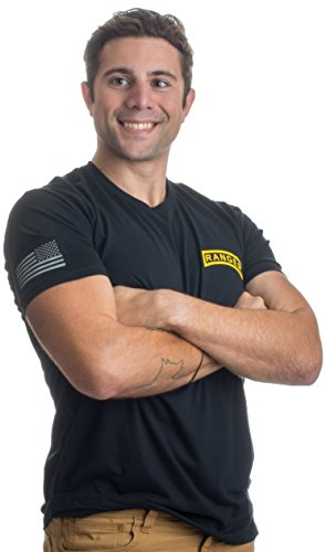 Ann Arbor T Shirt Co  Ranger Tab   Sleeve Flag   United States Military Us Army Infantry Vet T Shirt  Black 2Xl