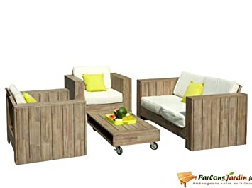Salon de jardin bas en bois Cosmos: Amazon.fr: Cuisine & Maison