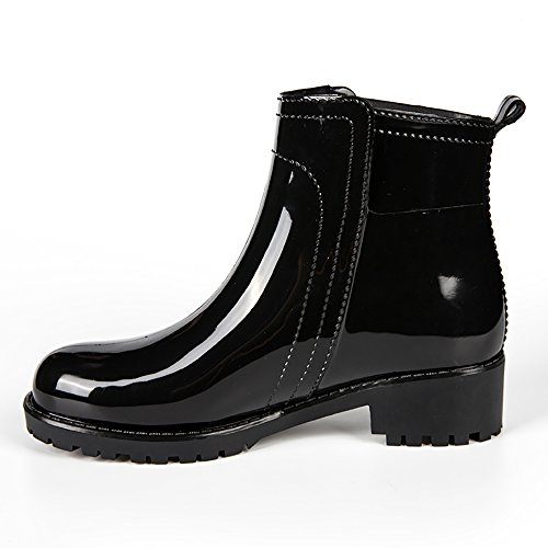 JQX01 Spring Rain Tall Waterproof Gloss KICKIC Ladies Ankle Short Black Slip Boots Anti B4P5Oxw