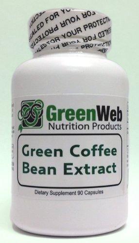 Vert marque Web Café Vert Extrait Bean, 90 capsules, 500 mg, Extrait Pur de café vert
