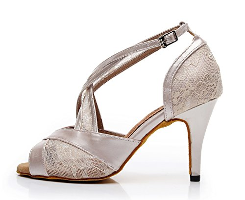 UK Party Salsa Shoes Synthetic Dance Nude 7 Printed Latin Sandals MINITOO Ladies Mesh Formal wq4T4aR