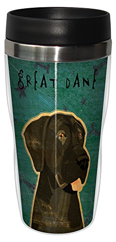 Tree-Free Greetings sg24069 Black Great Dane-No Crop by John W. Golden 16-Ounce Sip 'N Go Stainless Steel Lined Travel (Great Dane Merchandise)