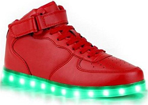 [Present:kleines Handtuch]JUNGLEST® Unisex Men Women High Top LED-Licht Sneakers USB Charging 7 Color Changing Luminous Couple Casual S Rot