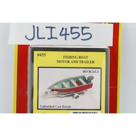 (FISHING BOAT, MOTOR, TRAILER - JL INNOVATIVE DESIGN HO SCALE MODEL TRAIN ACCESSORIES 455)