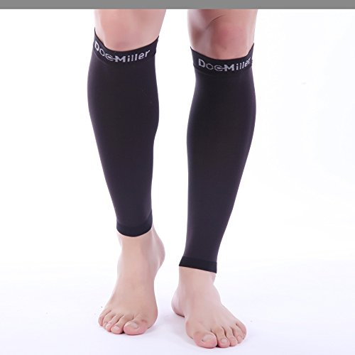 Doc Miller Premium Calf Compression Sleeve 1 Pair 20-30mmHg Strong Calf Support Graduated Pressure for Sports Running Muscle Recovery Shin Splints Varicose Veins Plus Size (Black, 3X-Large) by Doc Miller (Image #2)