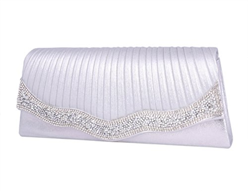 Day Of Saturn Clutch Con Solapa Diamante Lujoso Para Fiesta Mujer,Plateado Plateado