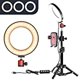 6'' Selfie Ring Light with Tripod Stand for YouTube Video and Makeup,Nugilla Led Desktop Ring Light,Cell Phone Holder Desktop LED Lamp Mini LED Camera Light with 3 Light Modes & 11 Brightness Level.