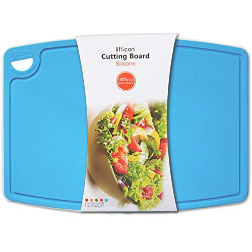 Liflicon Extra Large Thick Silicone Cutting Board 14.6'' x 10.43'' BPA Free and FDA Approved Chopping Board Flexible Nonslip Cutting Mats Dishwasher Safe-Blue (Silicone Board Thick Cutting)
