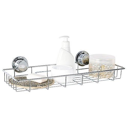 Tatkraft Ferdinand Vacuum Screw HARD Rectangular Long Bath Shelf 45X18.9X5 cm Anti Rust 4-Layered Chromed Steel Collection Wc Brush Set