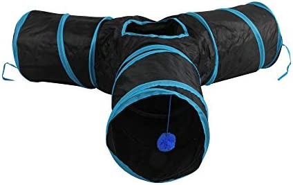 Cat Tunnel Collapsible Pet Tube Toy with Balls Cat Entertain Equipment Interactive Tunnel Toy 3 Way Cat Pop-up Tunnel