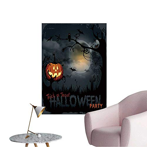 Modern Decor Halloween Night Background with Pumpkin and Full Moon. Ideal Kids Decor or Adults,20