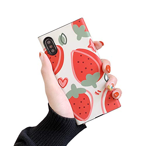 Summer Fruit Square Phone Case for iPhone Xs X 10 Full Covered Soft Trunk Air Corner Shockproof Back Cover Casing (Strawberry Pattern, iPhone X/XS 5.8'')
